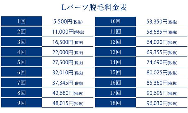 ストラッシュのLパーツ 価格表