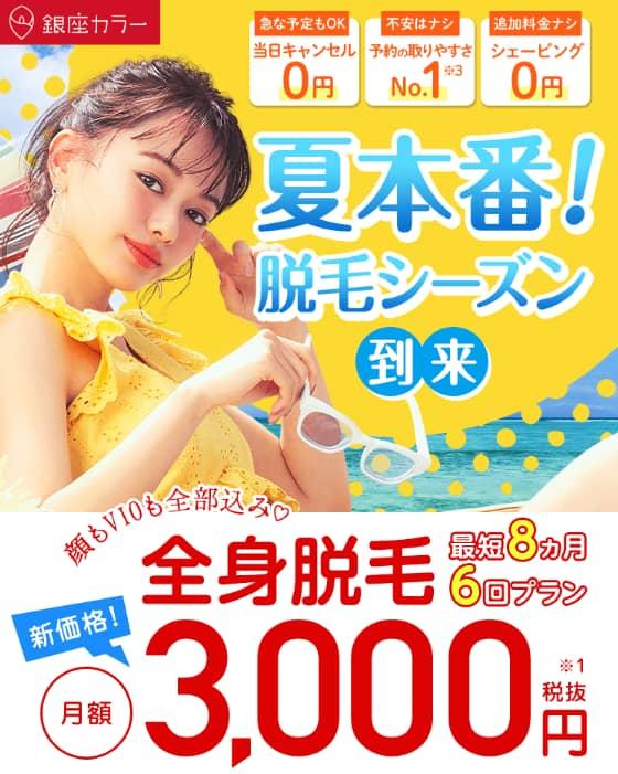 銀座カラー 月額3,000円