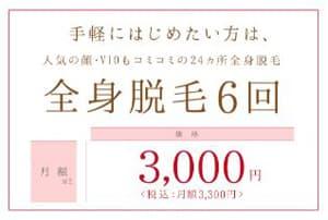 銀座カラー 全身脱毛 月額3,000円